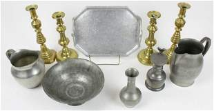 19th c. Brass Candlesticks and Pewter Tableware