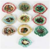 10 Victorian Majolica Leaf Form Dishes