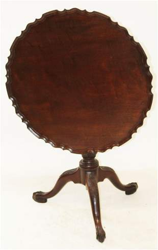 19th c Chippendale Pie Crust Tilt Top Tea Table