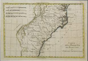 Rigobert Bonne Circa 1780 French Map of United States