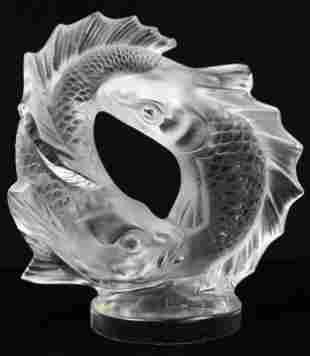 Lalique Deux Poissons Crystal Fish Sculpture