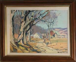 Thomas R Curtin (VT 1899-1977) Spring Landscape