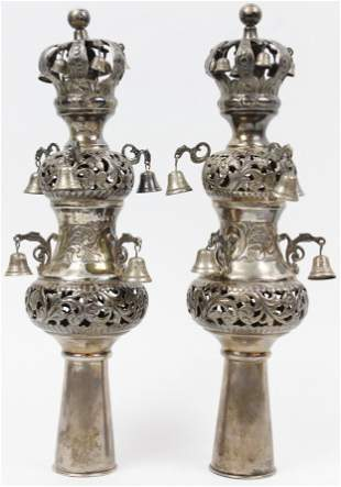 Pair of Silver Judaica Torah Rimonim