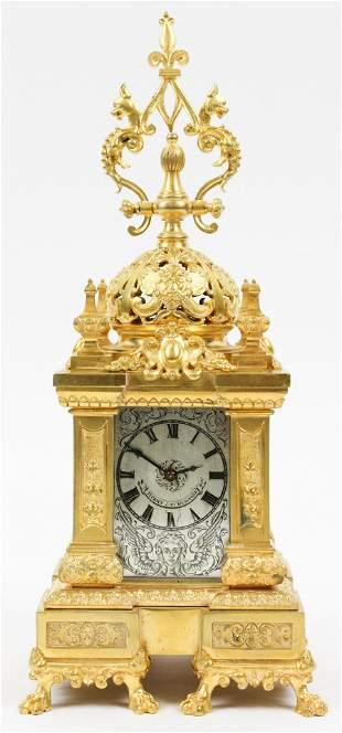 Tiffany & Co Gilt Brass Mantle Clock