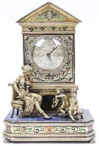 Austrian Figural Group Jeweled Desk Clock