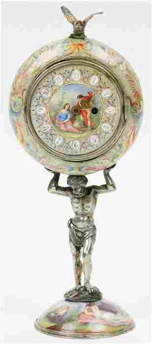 Vienna Austria Enameled Clock with Atlas Base