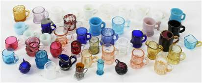 45 Colored Glass Miniature Mugs, Shot Glasses