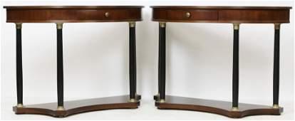 Pair of Italian Neoclassical Demilune Tables