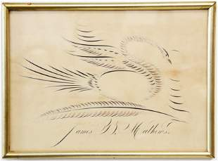 Calligraphy Drawing of a Bird and Feather