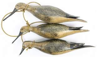Three ca 1900 Stick-up Shorebird Decoys