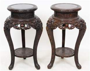 Pair Chinese Carved Stands