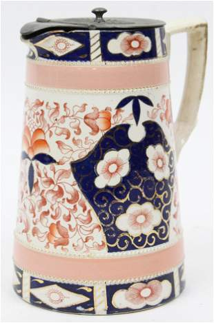 Imari Style Porcelain Pewter Lid Syrup Pitcher
