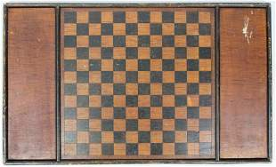 19th c Painted Wooden Gameboard