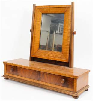 19th c Tiger Maple Dressing Mirror