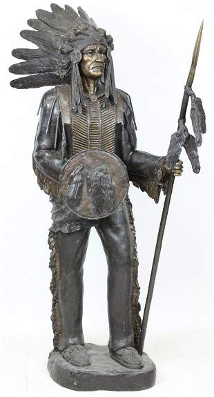 Life Size Indian Chief Bronze Sculpture