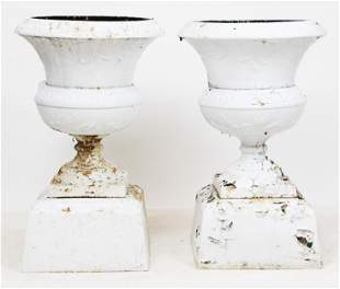 Pair of Late 19th c Cast Iron Garden Urns