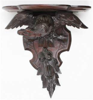 Victorian Carved Clock Shelf with Eagle