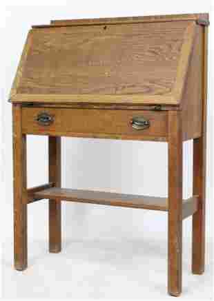 Stickley Red Clamp Mark Oak Slant Front Desk