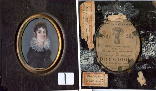 1: Circa 1830 miniature on ivory of young lady with tor