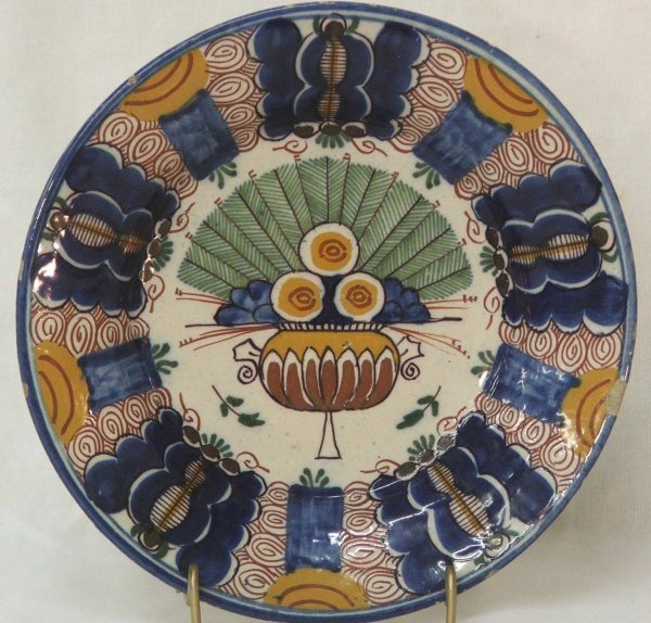 "2: 18th century  9"" Delft polychrome peacock pattern pl"