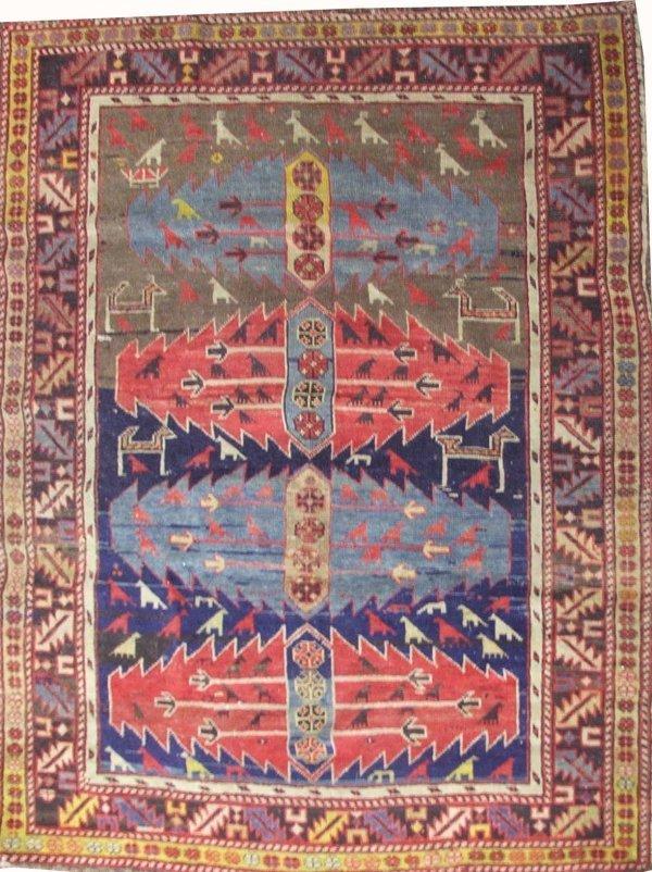 """8: 3'8""""x 4'9"""" Caucasian area rug"""