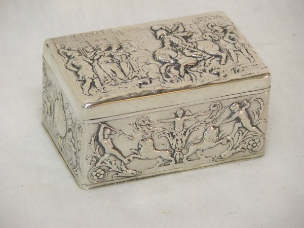9: early Continental hallmarked silver box- poss German