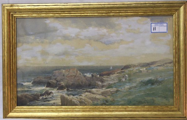 "11: 28 x 15"" w/c of the Maine coast signed S .P. Rolf T"