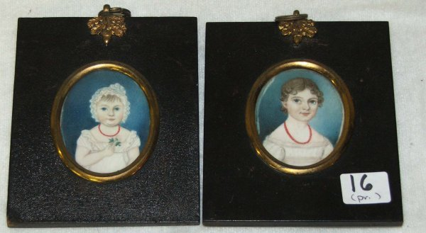 "16: pr of American? 3"" oval on ivory miniatures girls o"