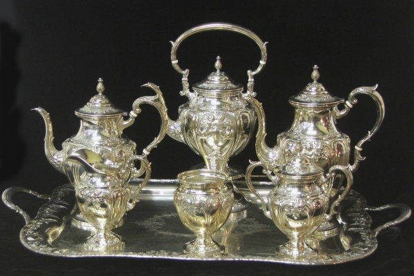 "18: 7 pc Fisher ""Victoria"" sterling tea service with 29"