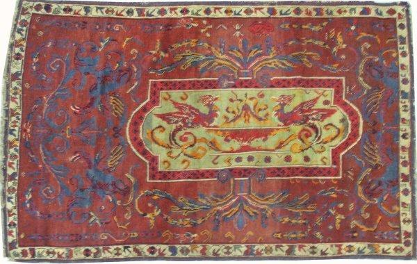 "22: 4'2"" x 5'9"" Russian area rug with pr of  phoenixes,"