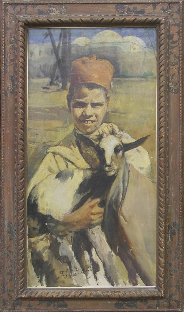 "36: 48x 24"" o/c Asian boy holding a goat signed R Locat"