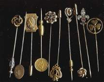 387 group of Victorian stick pins incl gold  diamond