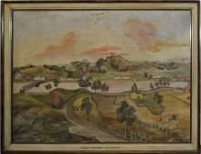 """19th c Overmantle Painting """"West Milton VT"""""""