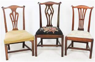 3 Period 18th c. Chippendale Side Chairs