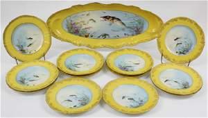 Haviland Limoges Fish Platter and 12 Plates
