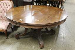 Round Walnut Carved Table