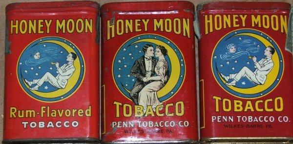 8: Lot of three Honeymoon pocket tobacco tins- courting