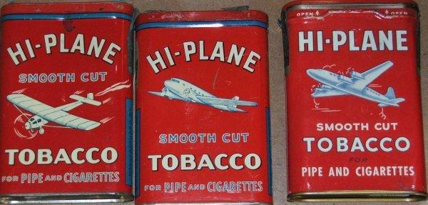 9: lot of three High Plane pocket tobacco tins, DC-3, D