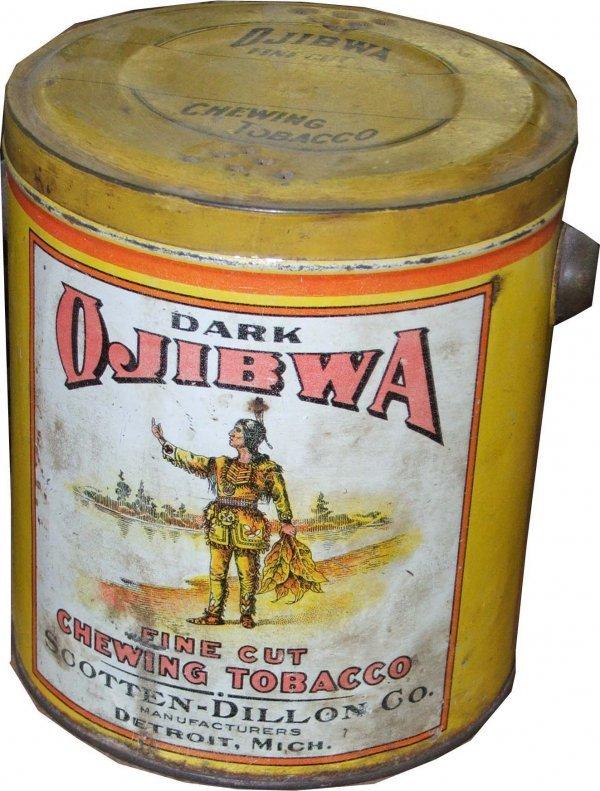 12: Ojibwa round tobacco tin