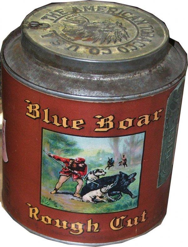 13: Blue Boar round tobacco tin- paper label