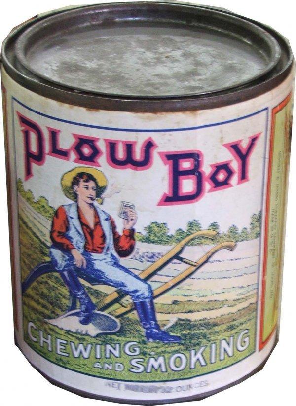 14: Plow Boy cardboard round tin