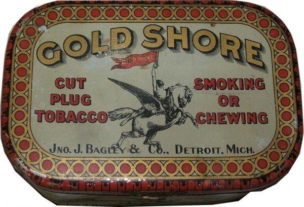 17: Gold Shore rectangular tobacco tin