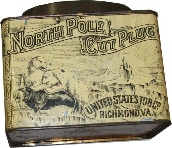 18: North Pole rectangular tobacco tin