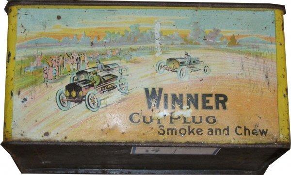19: Winner lunch pail tobacco tin