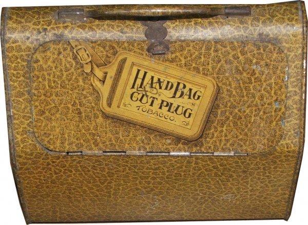 21: Handbag cut plug lunch pail tobacco tin