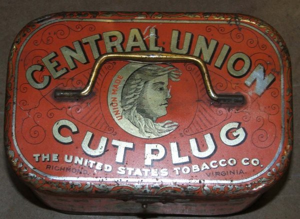 22: Central Union lunch pail tobacco tin