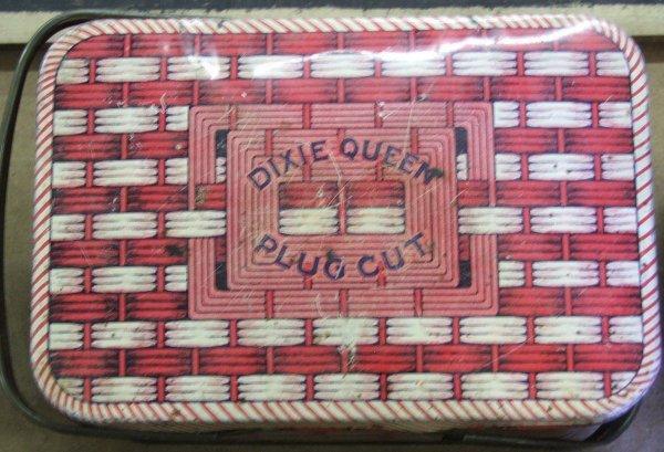 24: Dixie Queen basket lunch pail tobacco tin