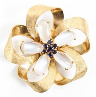 14k Gold, Moonstone, & Sapphire Brooch