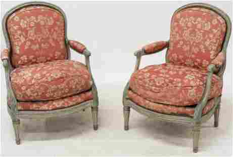 Pair of 18th c French Fauteuil Armchairs