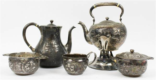 5 pcs. Arts and Crafts Sterling Silver Tea Set